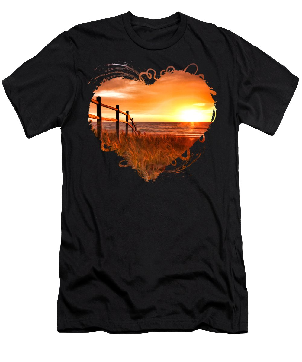 Door County T-Shirt featuring the painting Door County Europe Bay Fence Sunrise by Christopher Arndt