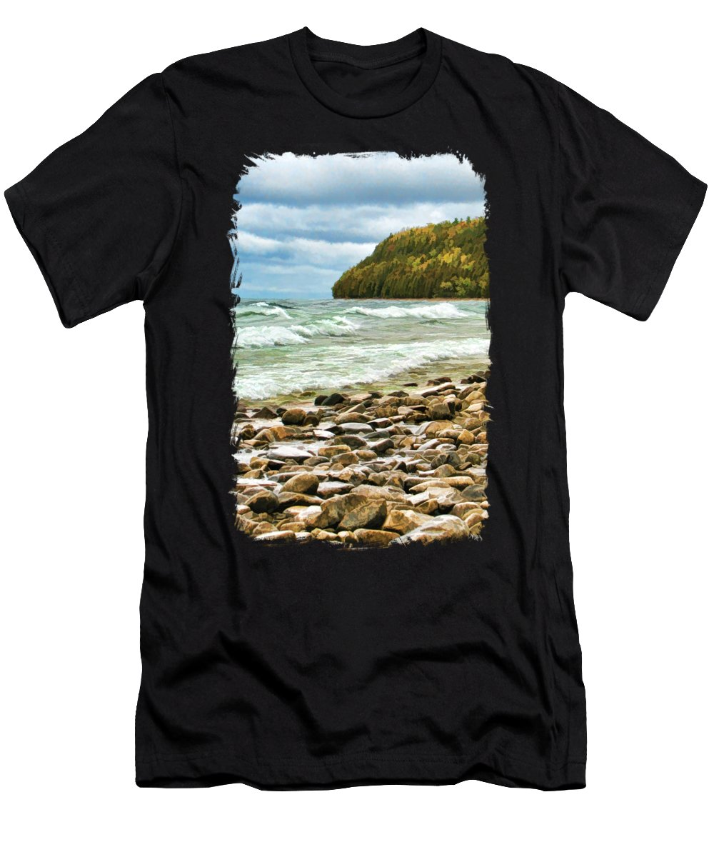 Door County Men's T-Shirt (Athletic Fit) featuring the painting Door County Porcupine Bay Waves by Christopher Arndt