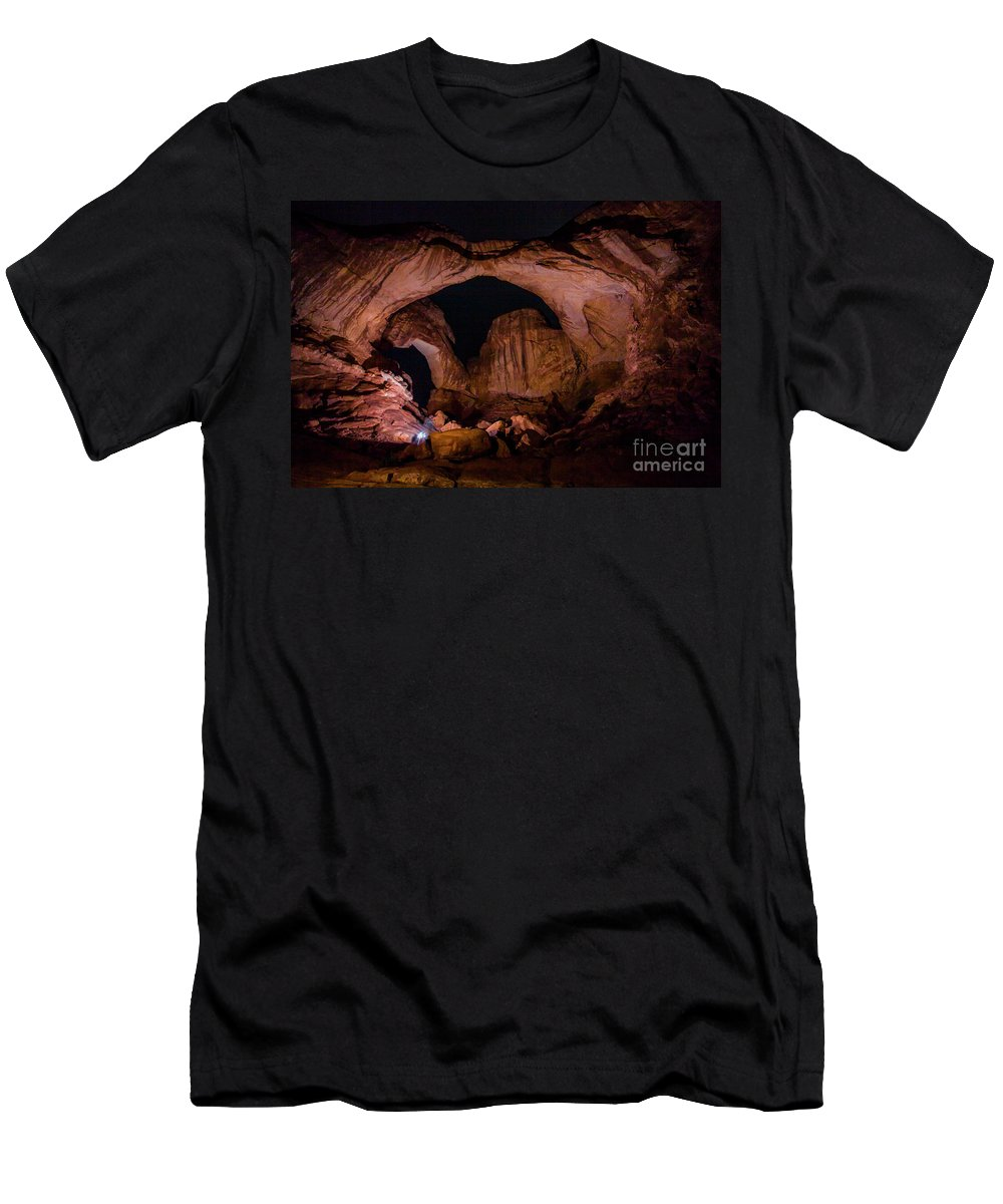 Nature Men's T-Shirt (Athletic Fit) featuring the photograph Double Arch Night by Jennifer Sensiba