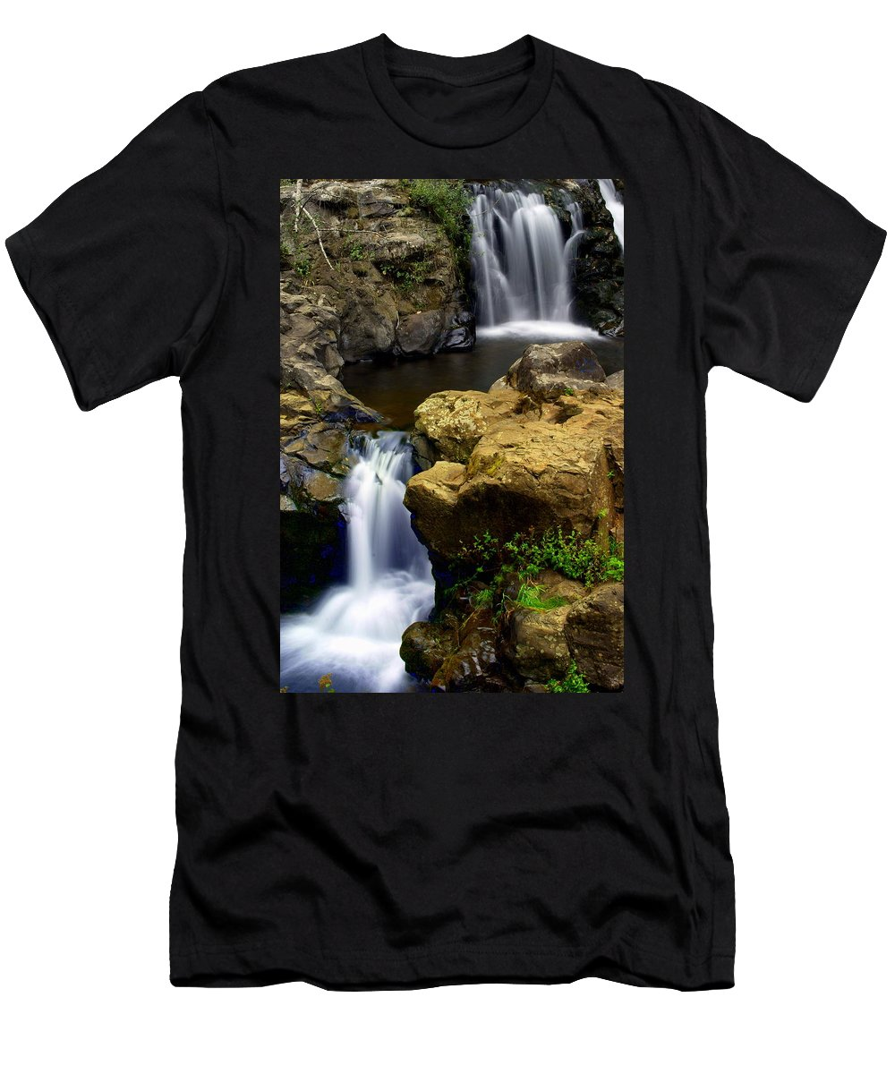 Waterfall Men's T-Shirt (Athletic Fit) featuring the photograph Double Drop by Marty Koch