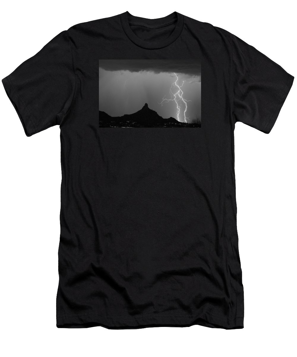 Arizona Men's T-Shirt (Athletic Fit) featuring the photograph Double Lightning Pinnacle Peak Bw Fine Art Print by James BO Insogna