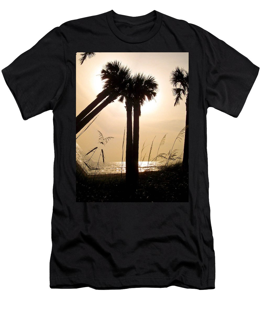 Beach Men's T-Shirt (Athletic Fit) featuring the photograph Double Palms by Trish Tritz