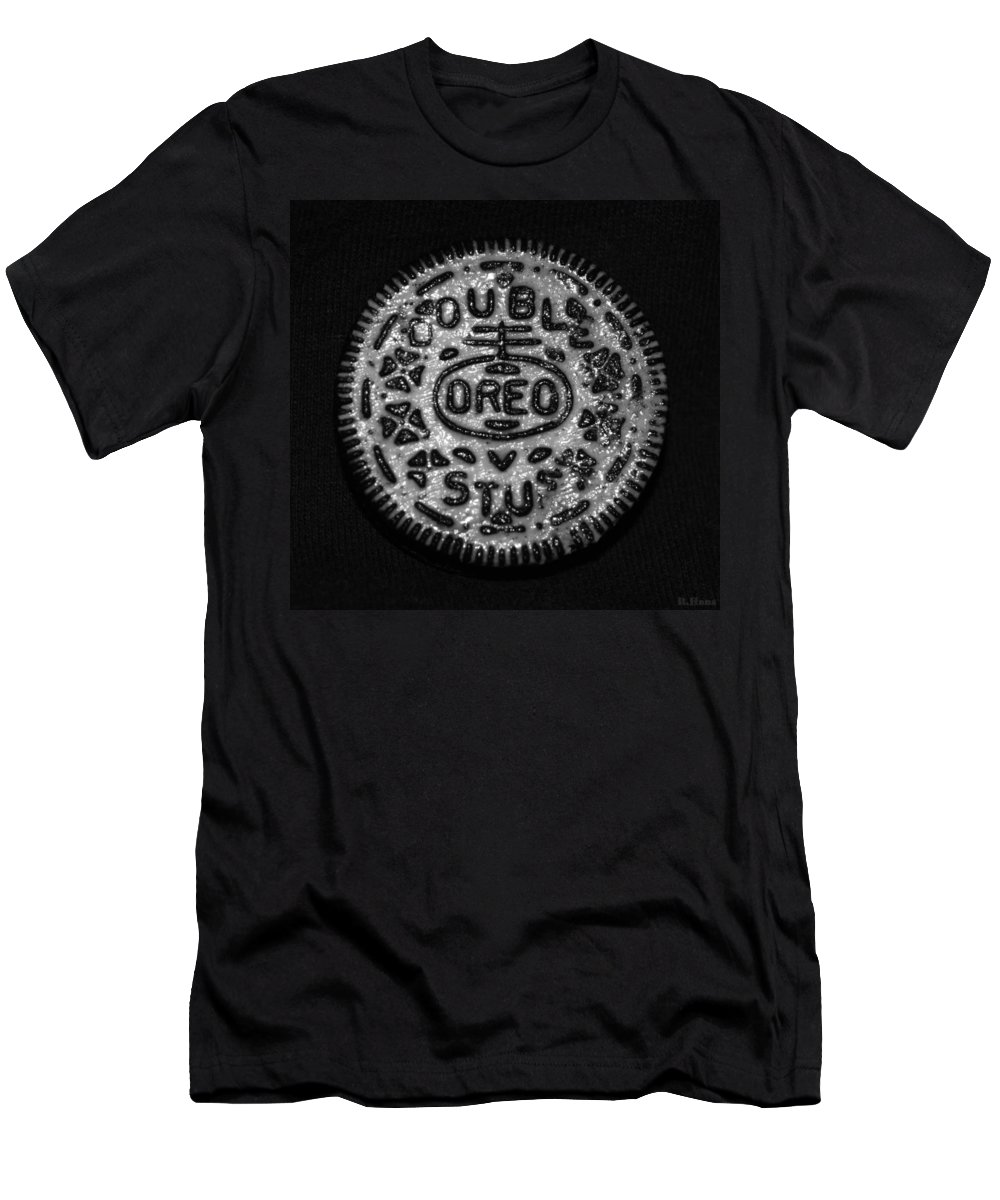 Oreo Men's T-Shirt (Athletic Fit) featuring the photograph Doulble Stuff Oreo In Black And White by Rob Hans