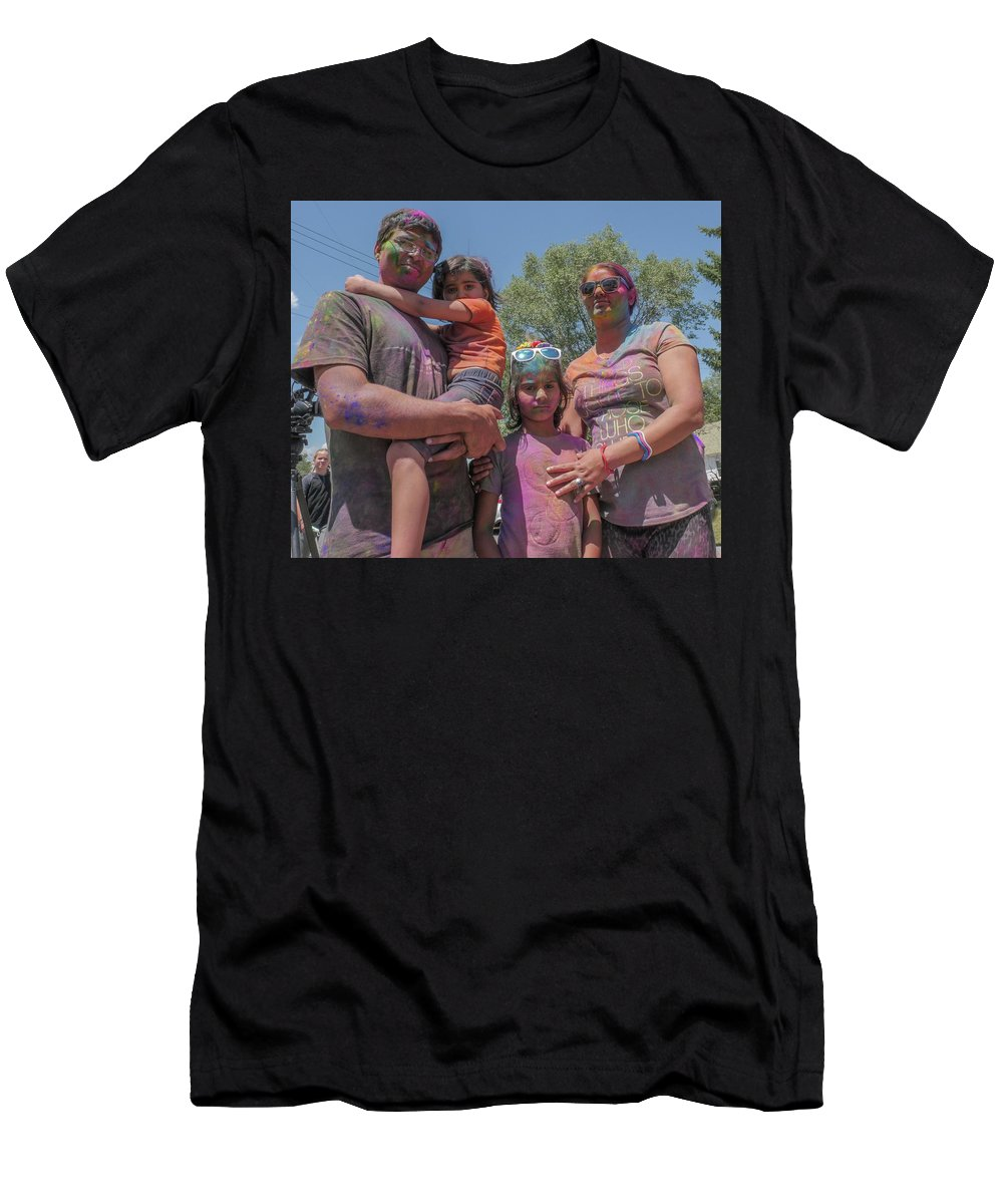 Holi Festival Men's T-Shirt (Athletic Fit) featuring the photograph Doused With Color by Billy Joe