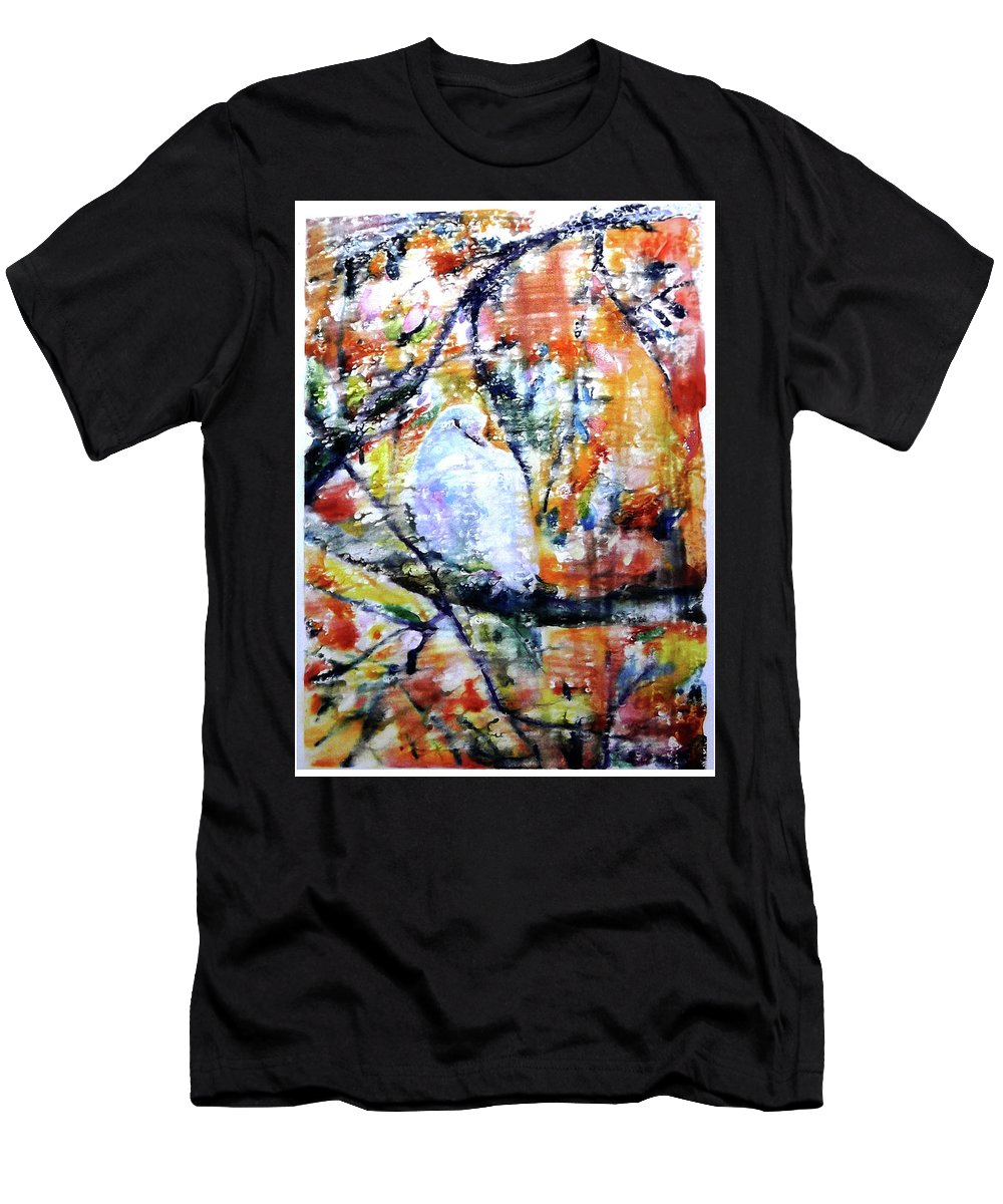 Dove Men's T-Shirt (Athletic Fit) featuring the painting Dove On The Yellow Tree by Jongdee Thongkam