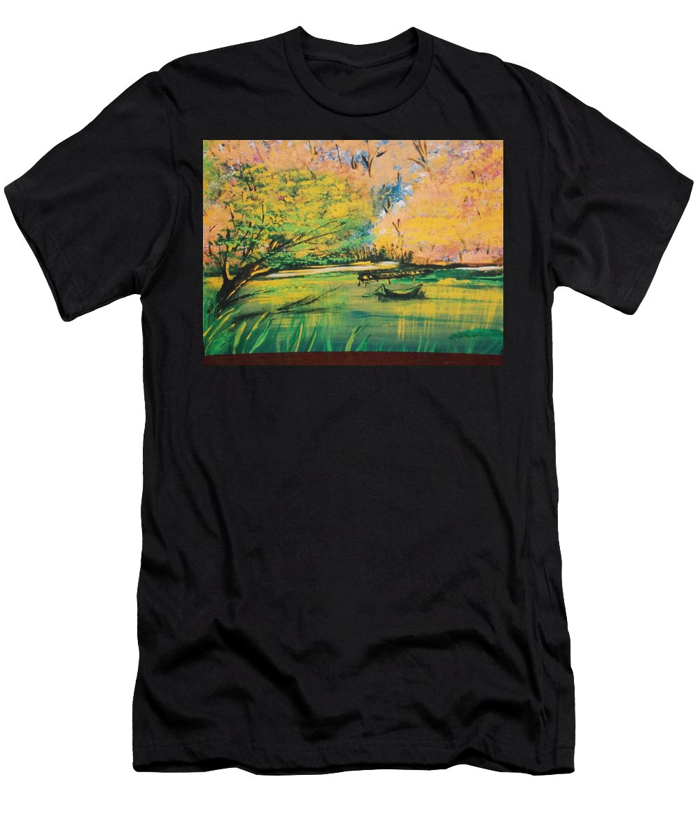 Swamp Men's T-Shirt (Athletic Fit) featuring the painting Down In The Bayou by Calvin Ott