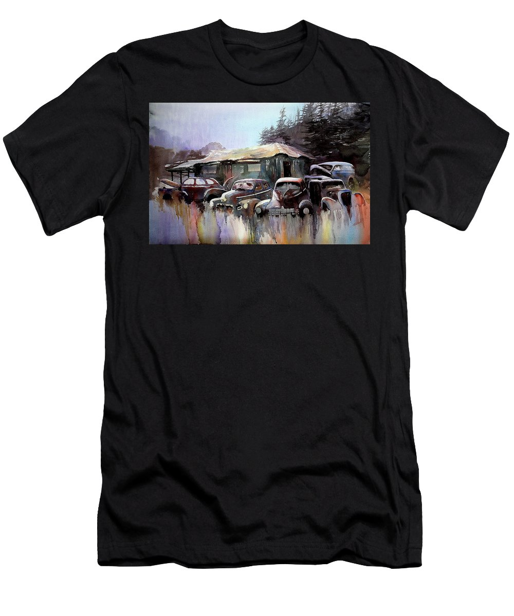 Cars House Men's T-Shirt (Athletic Fit) featuring the painting Down In The Dell by Ron Morrison