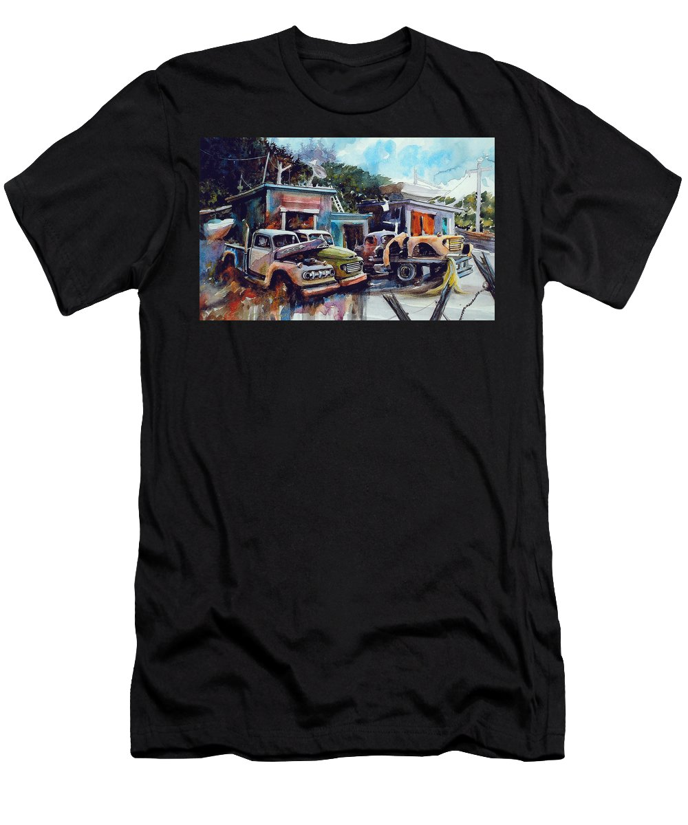 Trucks T-Shirt featuring the painting Down on the Lower Road by Ron Morrison