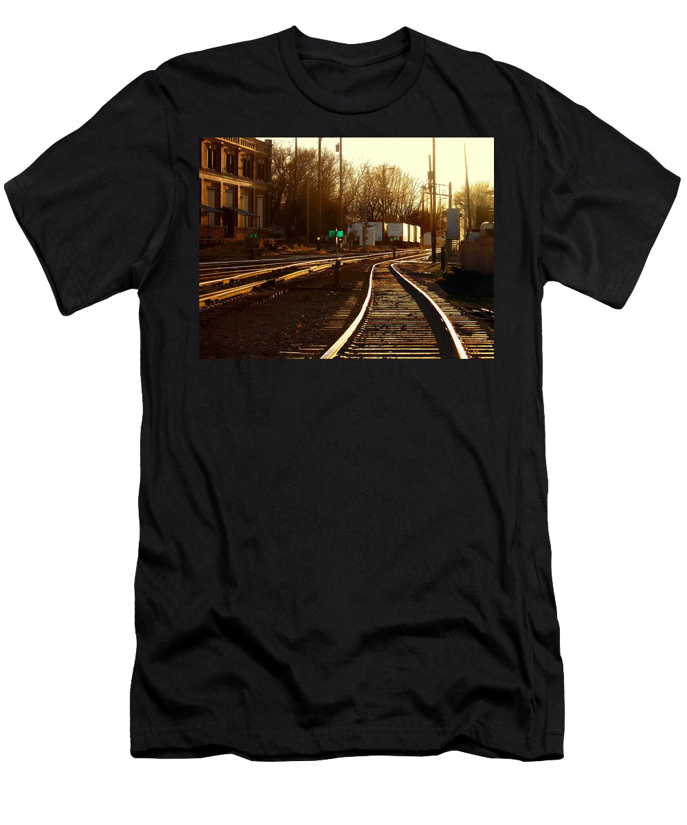 Landscape Men's T-Shirt (Athletic Fit) featuring the photograph Down The Right Track 2 by Steve Karol