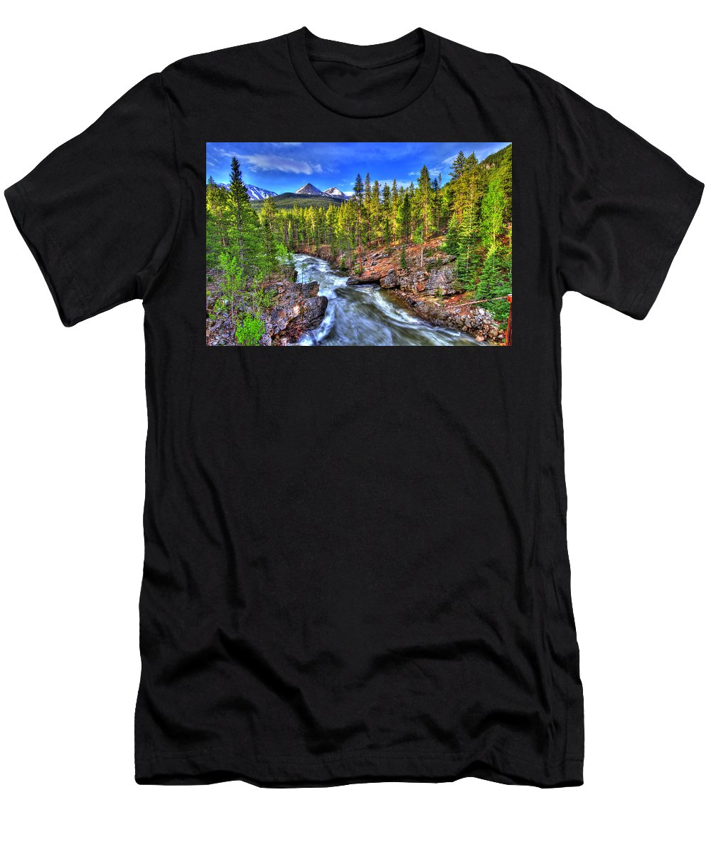 River Men's T-Shirt (Athletic Fit) featuring the photograph Down The River by Scott Mahon