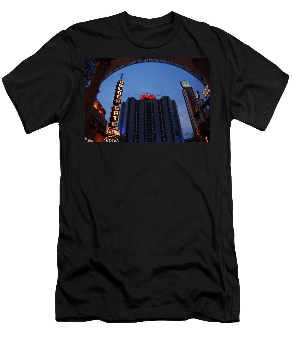 Las Vegas Men's T-Shirt (Athletic Fit) featuring the photograph Down Town Las Vegas by Susanne Van Hulst
