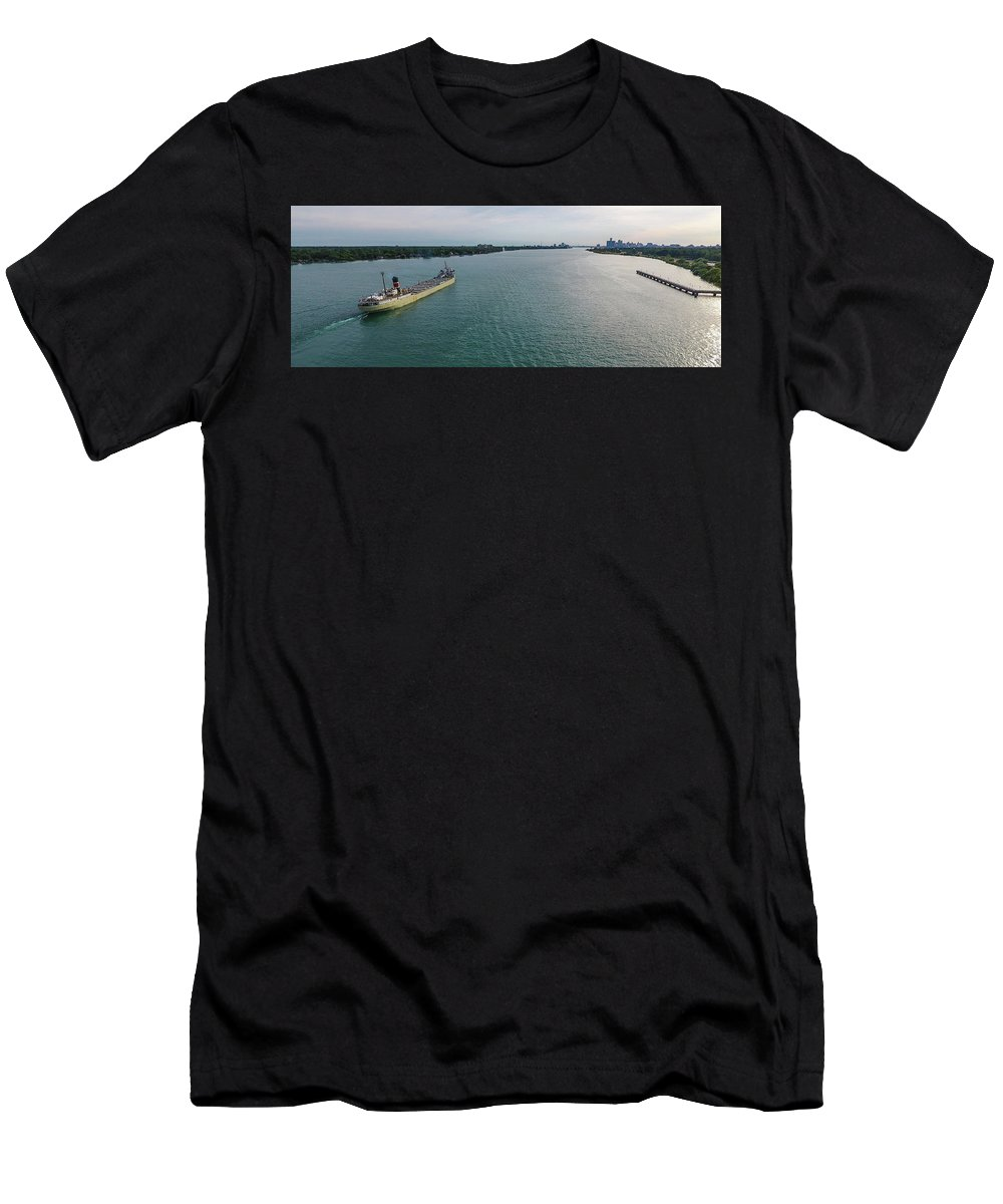 Gales Of November Men's T-Shirt (Athletic Fit) featuring the photograph Downbound At Belle Isle by Gales Of November