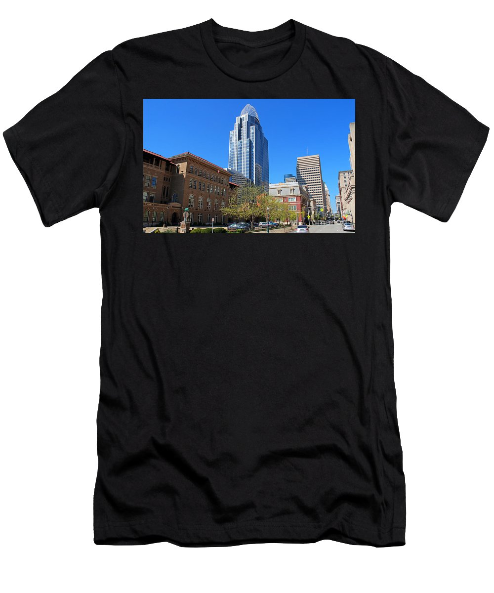 Downtown Cincinnati Men's T-Shirt (Athletic Fit) featuring the photograph Downtown Cincinnati 4188 by Jack Schultz