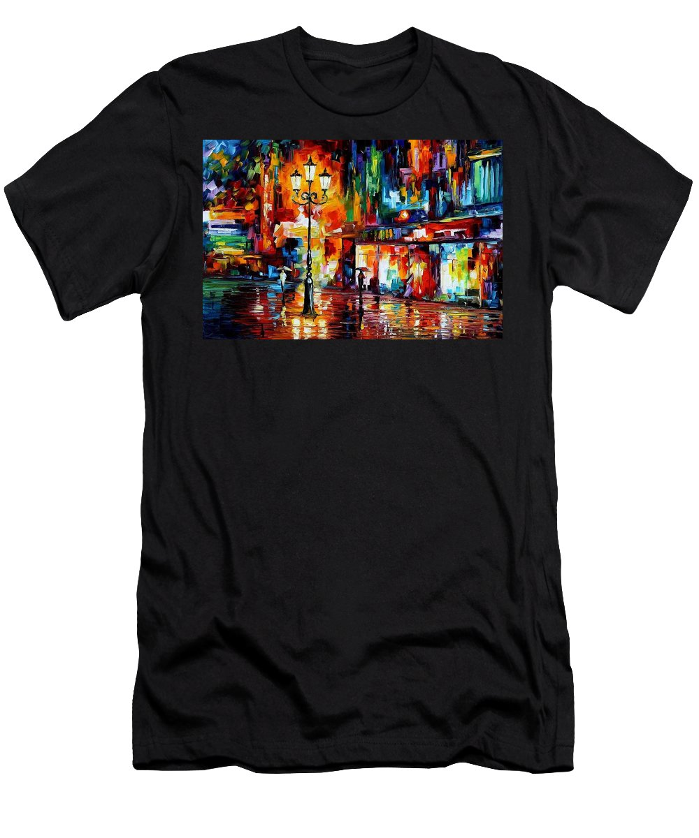 Afremov Men's T-Shirt (Athletic Fit) featuring the painting Downtown Lights by Leonid Afremov