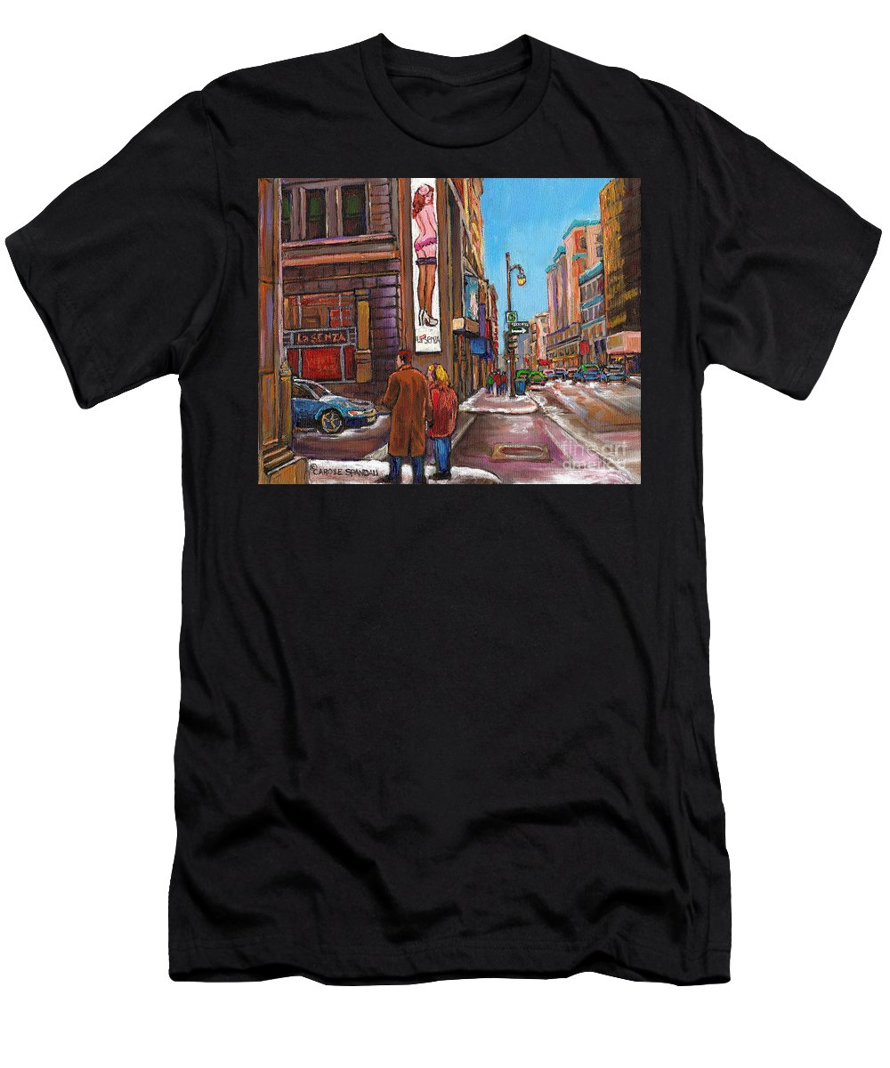 Montreal Men's T-Shirt (Athletic Fit) featuring the painting Downtown Montreal Streetscene At La Senza by Carole Spandau