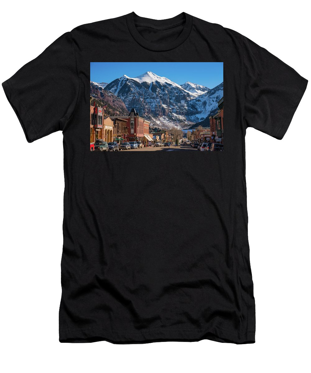 Colorado Men's T-Shirt (Athletic Fit) featuring the photograph Downtown Telluride by Darren White
