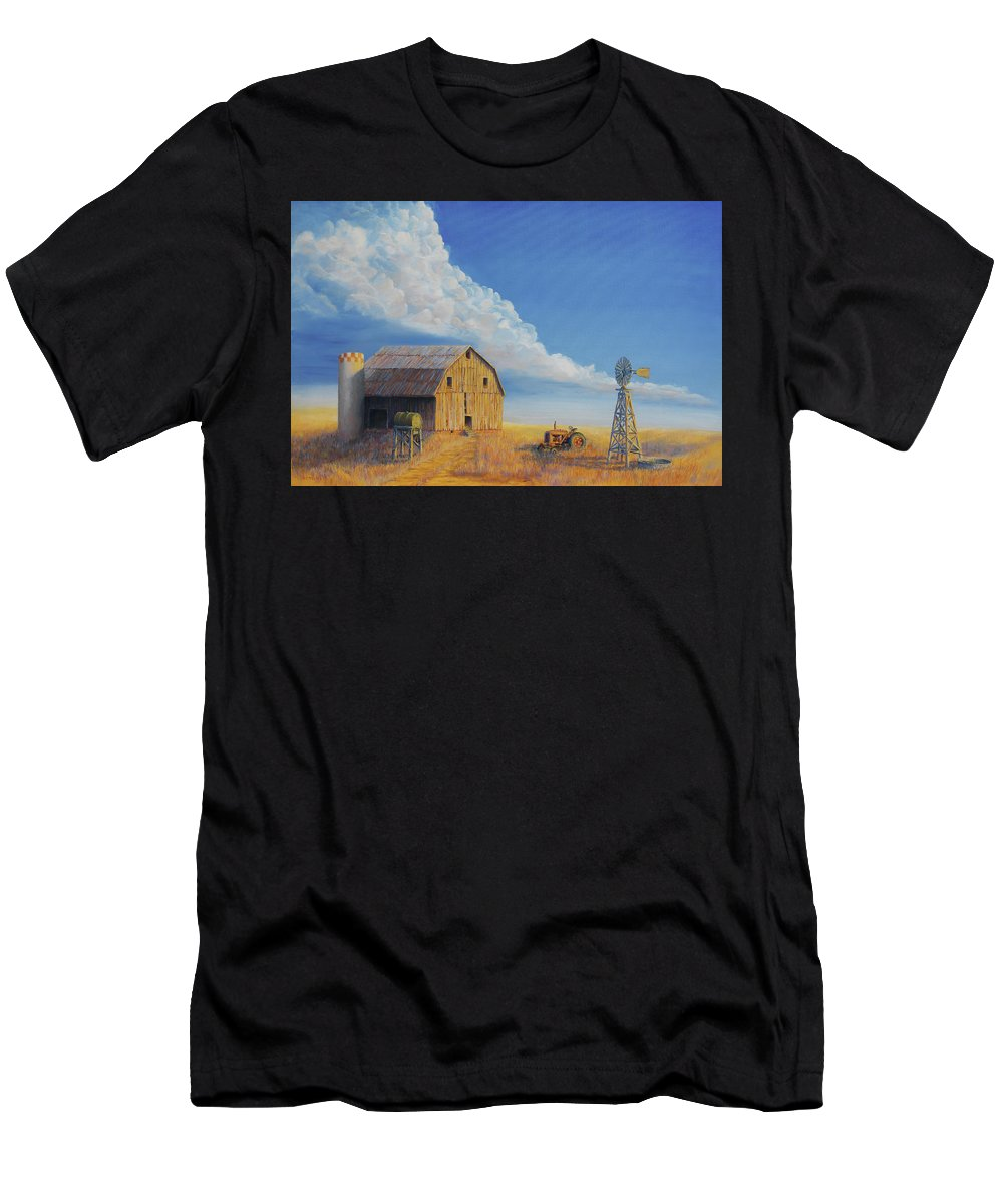 Barn Men's T-Shirt (Athletic Fit) featuring the painting Downtown Wyoming by Jerry McElroy