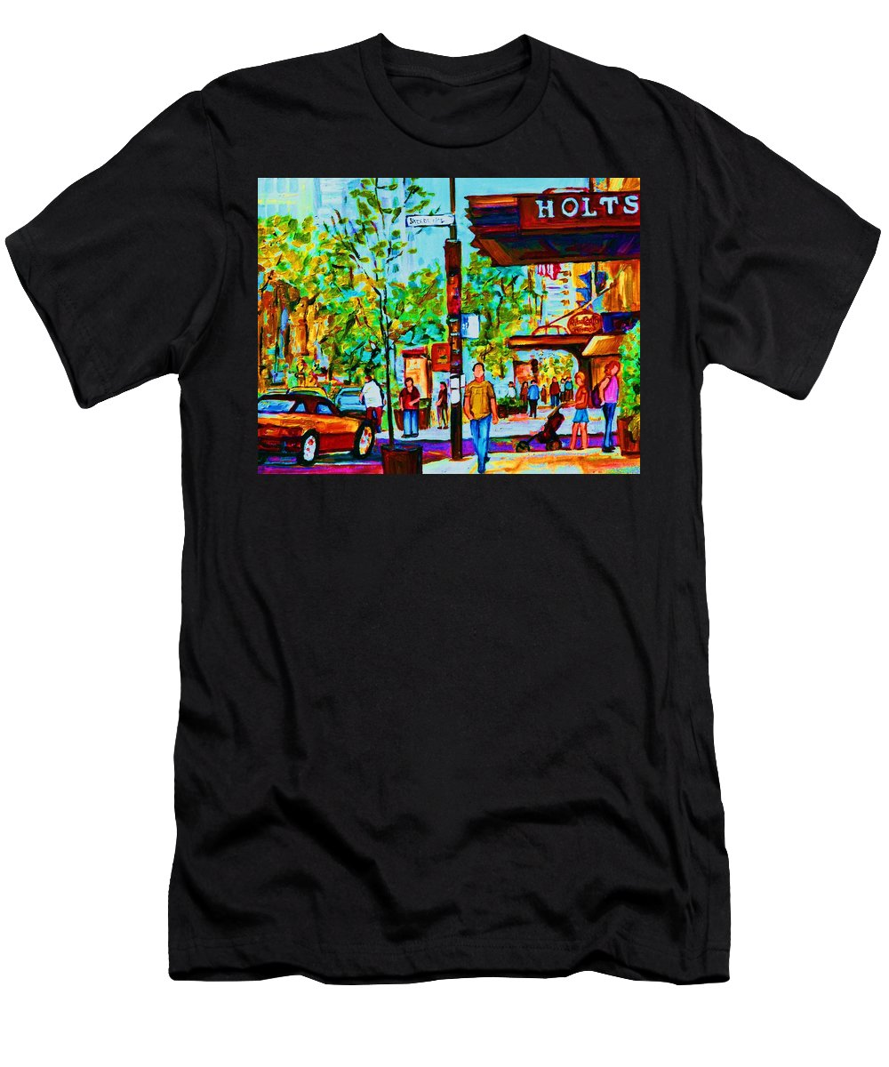 Montreal Streetscene Men's T-Shirt (Athletic Fit) featuring the painting Downtowns Popping by Carole Spandau