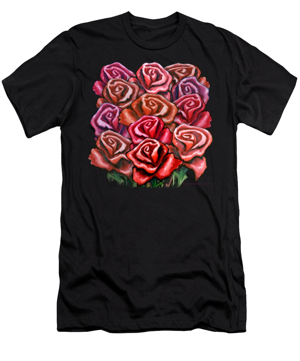 Rose Men's T-Shirt (Athletic Fit) featuring the painting Dozen Roses by Kevin Middleton