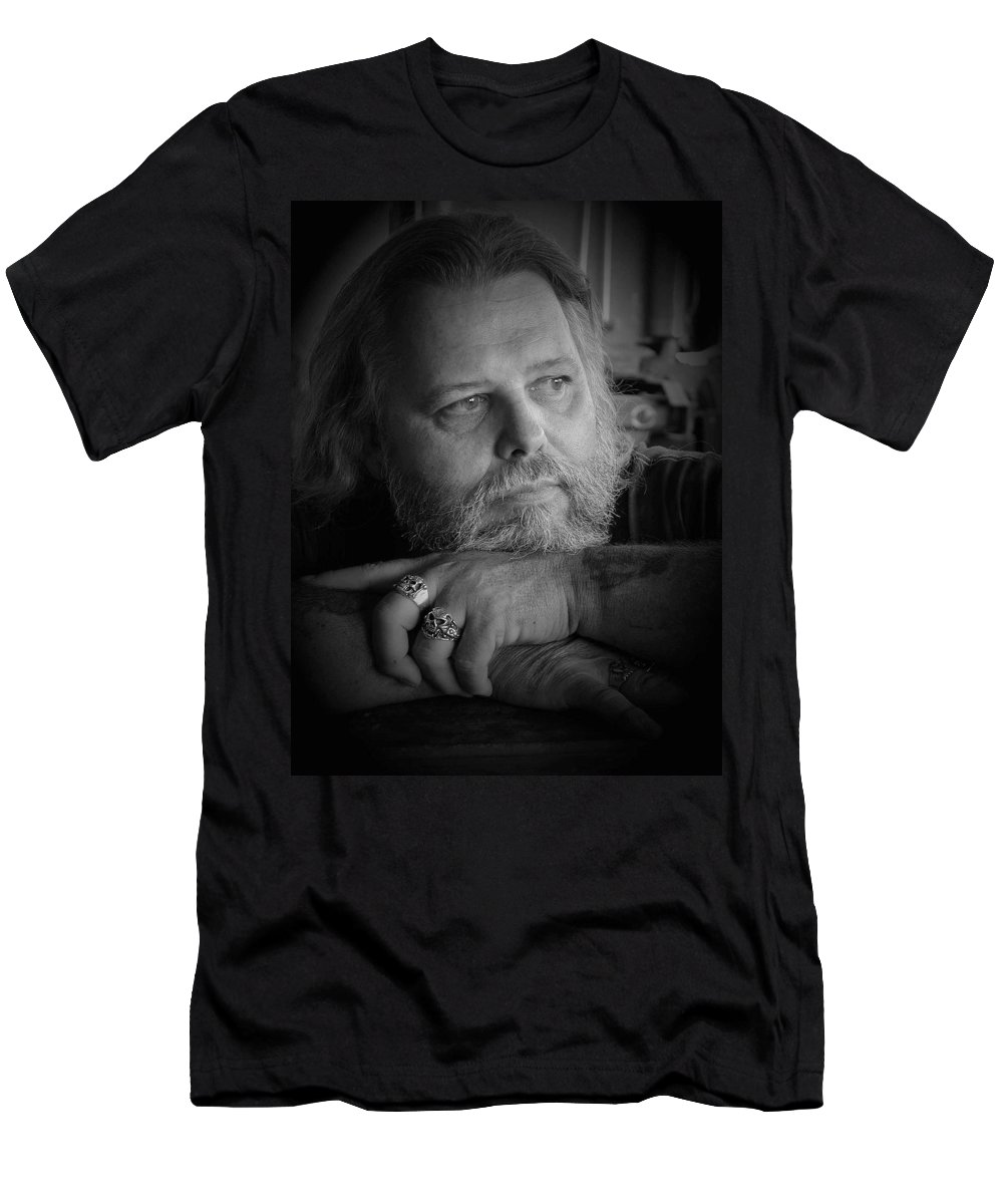Biker Men's T-Shirt (Athletic Fit) featuring the photograph Dr. Nick by D'Arcy Evans
