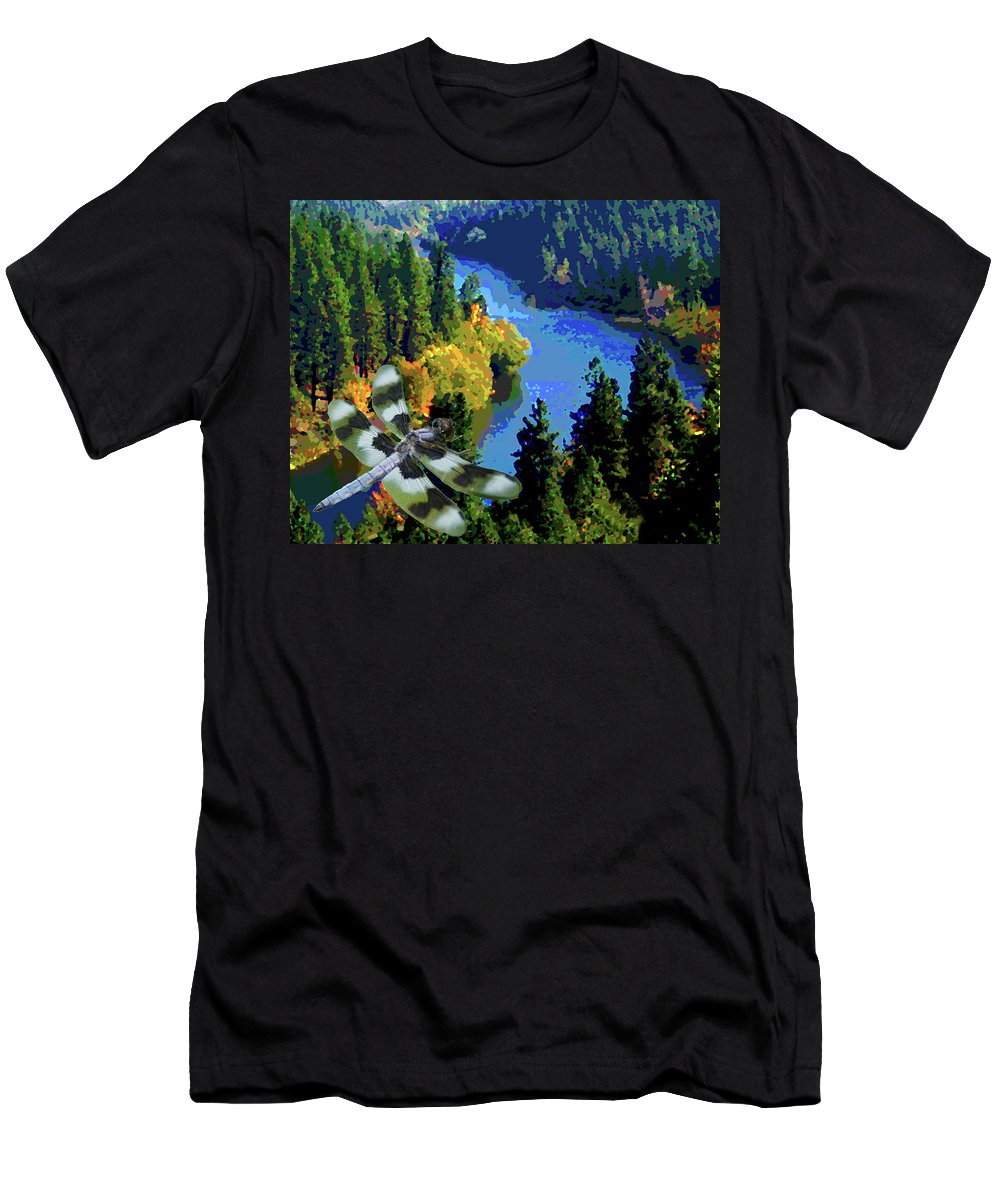 Dragonfly Men's T-Shirt (Athletic Fit) featuring the photograph Dragonflight Over The Spokane River by Ben Upham III