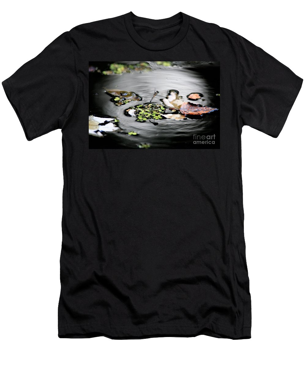 Dragonfly Men's T-Shirt (Athletic Fit) featuring the photograph Dragonfly Above Leaves by Matt Suess