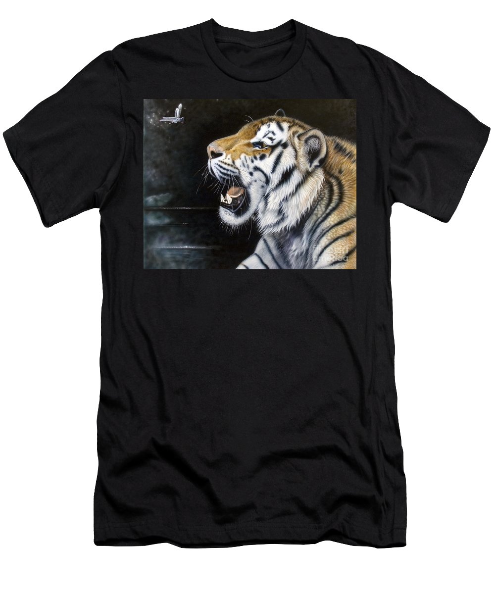 Tiger Men's T-Shirt (Athletic Fit) featuring the painting Dragonfly by Sandi Baker