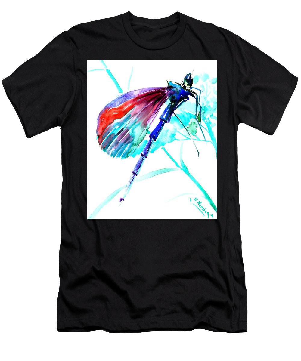 Dragonfly Men's T-Shirt (Athletic Fit) featuring the painting Dragonfly by Suren Nersisyan