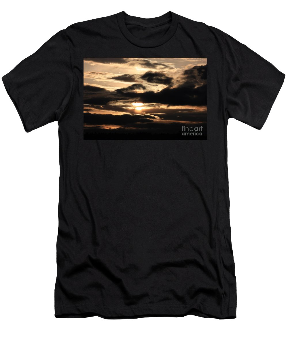 Dramatic Sunset Men's T-Shirt (Athletic Fit) featuring the photograph Dramatic Sunset by Carol Groenen