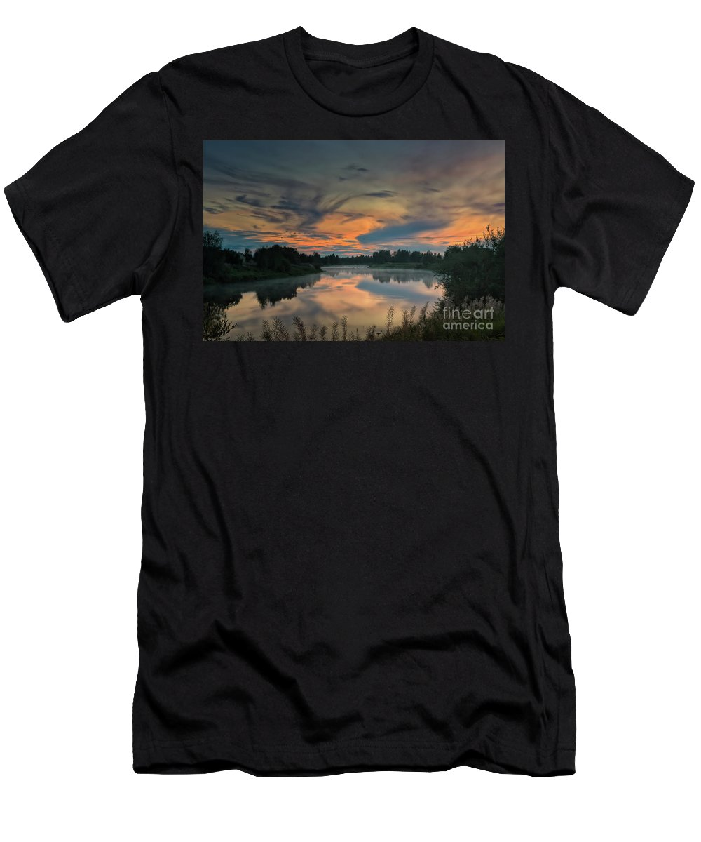 Copy Space Men's T-Shirt (Athletic Fit) featuring the photograph Dramatic Sunset Over The Misty River by Jukka Heinovirta