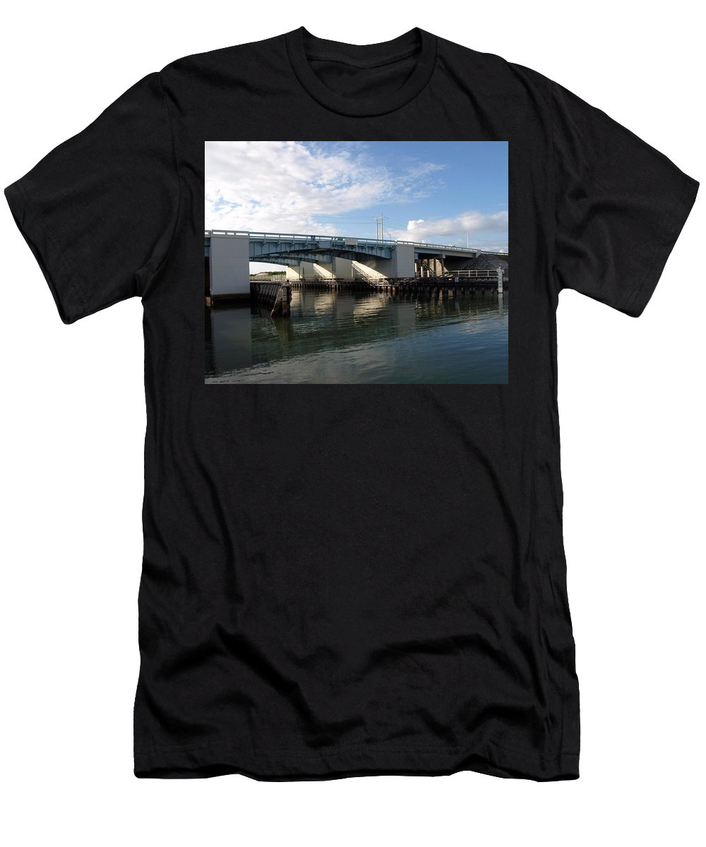 Drawbridge At Port Canaveral In Florida Men's T-Shirt (Athletic Fit) featuring the photograph Drawbridge At Port Canaveral In Florida by Allan Hughes