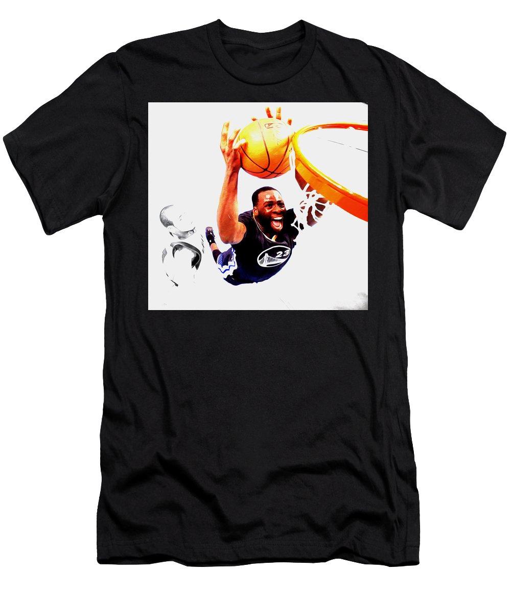 Draymond Green Men's T-Shirt (Athletic Fit) featuring the mixed media Draymond Green Taking Flight by Brian Reaves