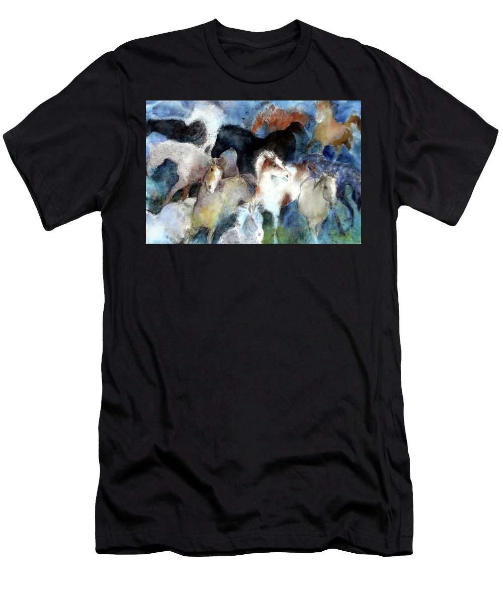 Horses Men's T-Shirt (Athletic Fit) featuring the painting Dream Of Wild Horses by Christie Martin
