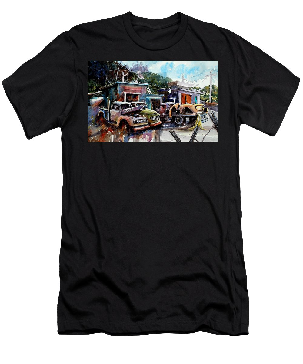 Trucks Buildings Boats Men's T-Shirt (Athletic Fit) featuring the painting Dreamboat Woodworks by Ron Morrison