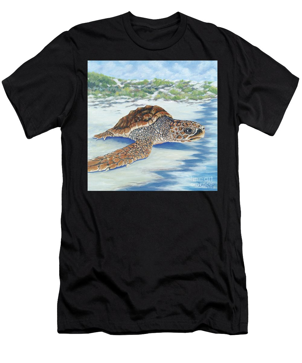 Sea Turtle T-Shirt featuring the painting Dreaming of Islands by Danielle Perry