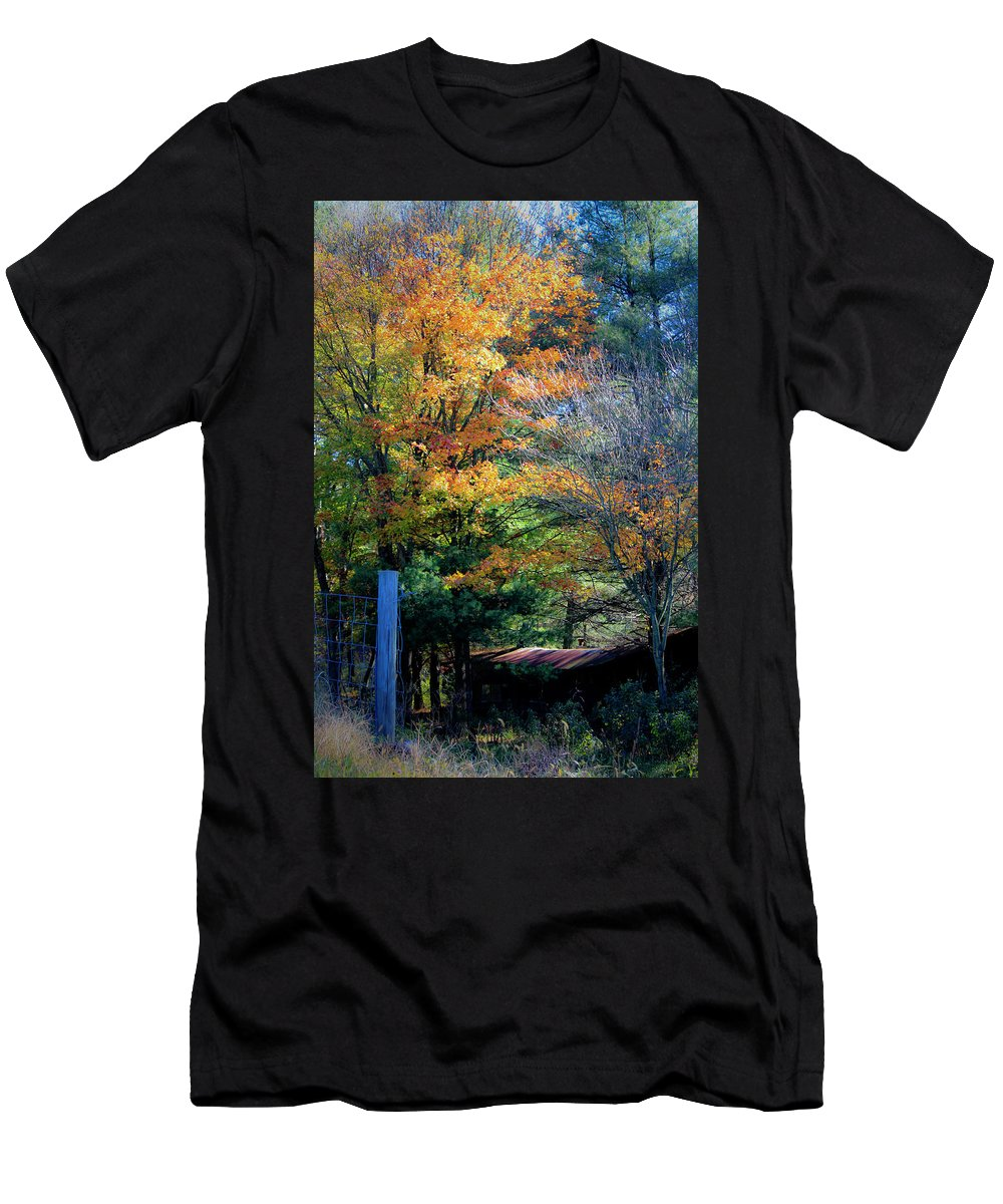 Fall Men's T-Shirt (Athletic Fit) featuring the photograph Dreamy Fall Scene by Teresa Mucha