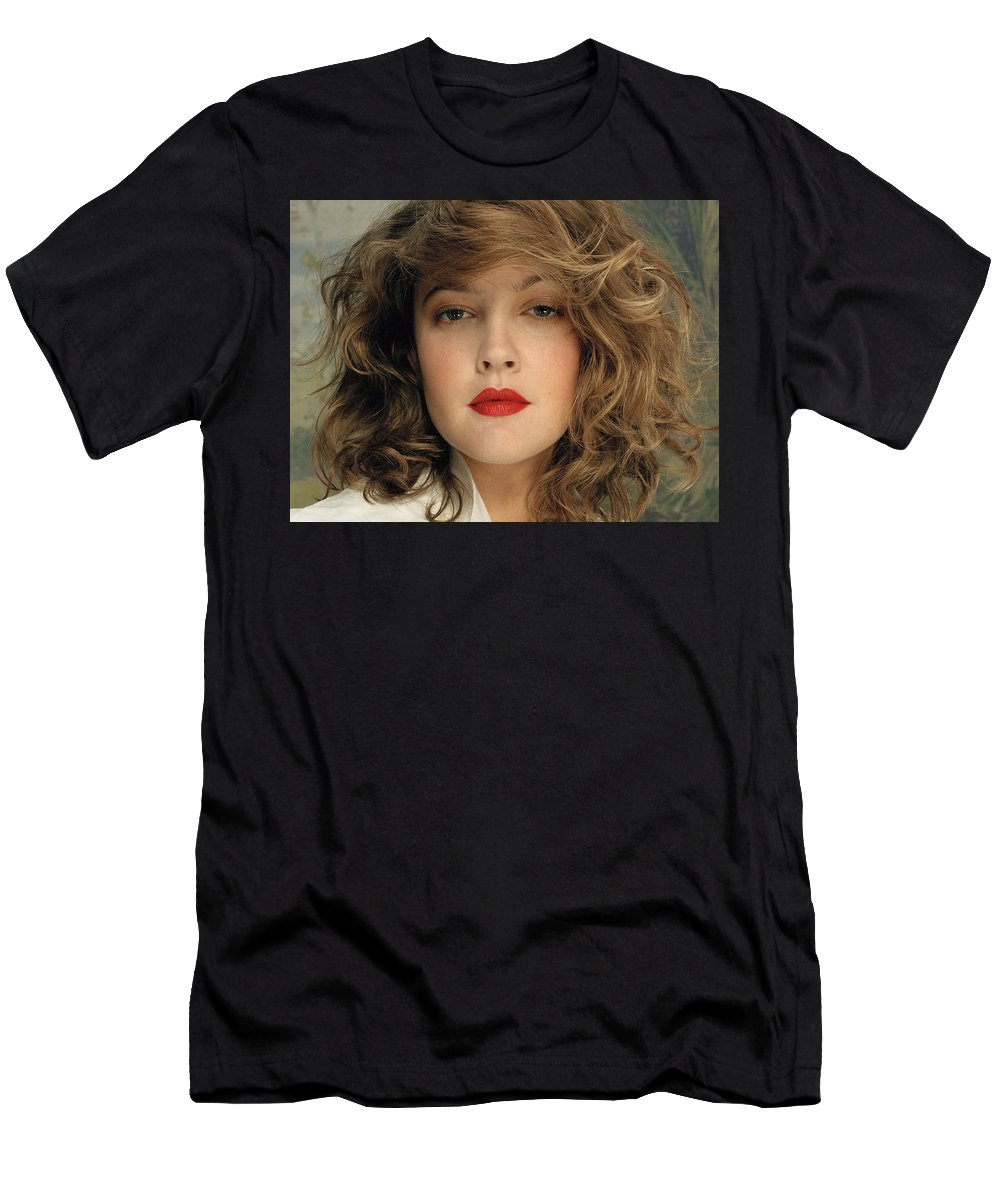 Drew Barrymore Men's T-Shirt (Athletic Fit) featuring the digital art Drew Barrymore by Dorothy Binder