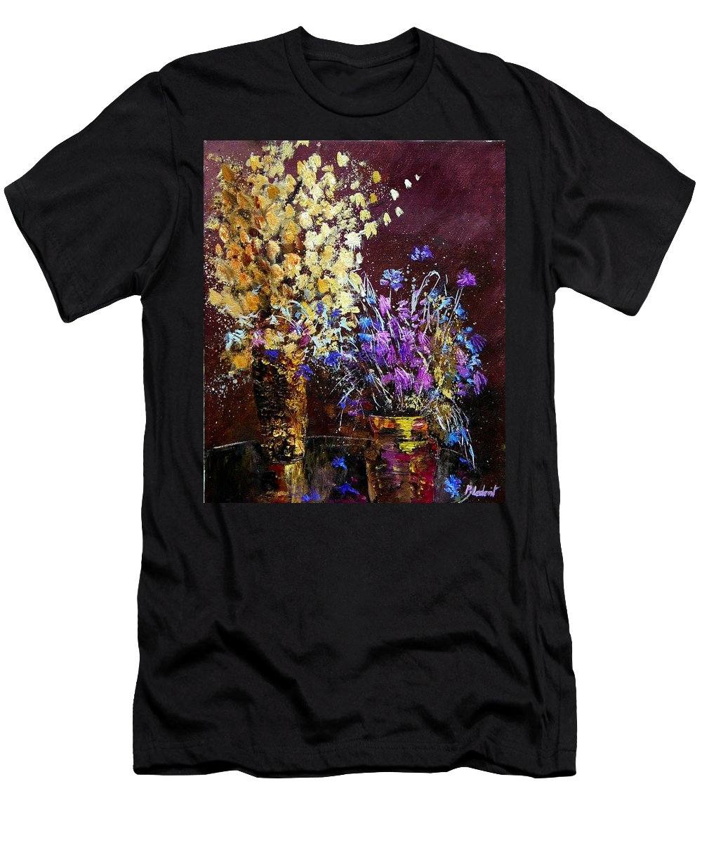 Flowers Men's T-Shirt (Athletic Fit) featuring the painting Dried Flowers by Pol Ledent