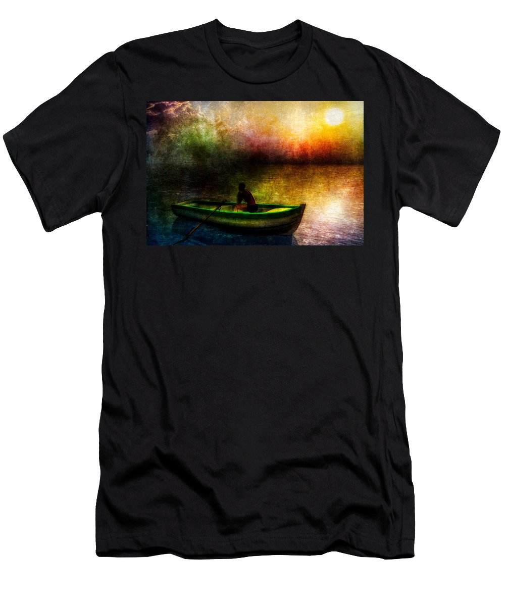 Seascape Men's T-Shirt (Athletic Fit) featuring the painting Drifting Into The Light by Bob Orsillo