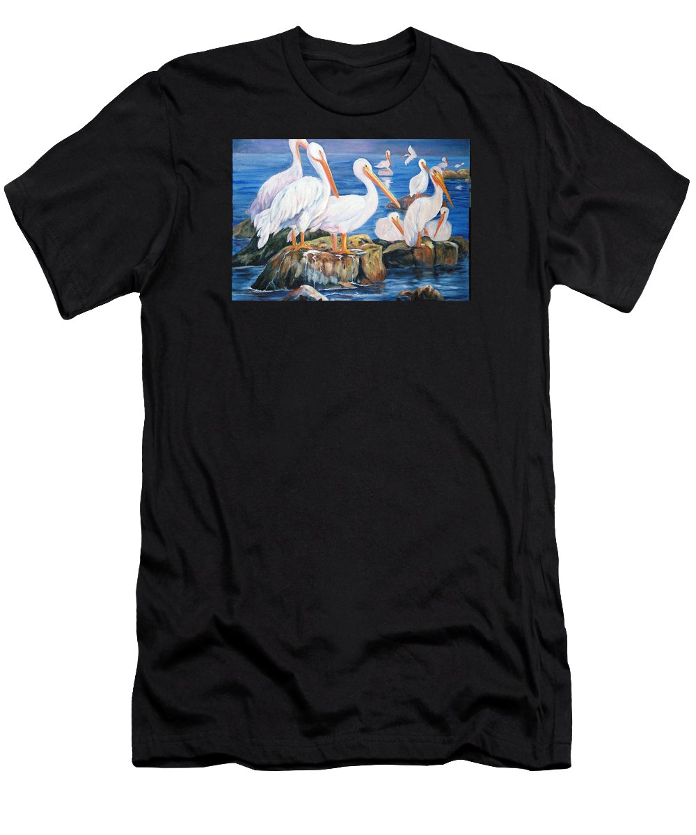 Pelicans On The Louisiana Jetties Men's T-Shirt (Athletic Fit) featuring the painting Drippin Wet by Anne Dentler
