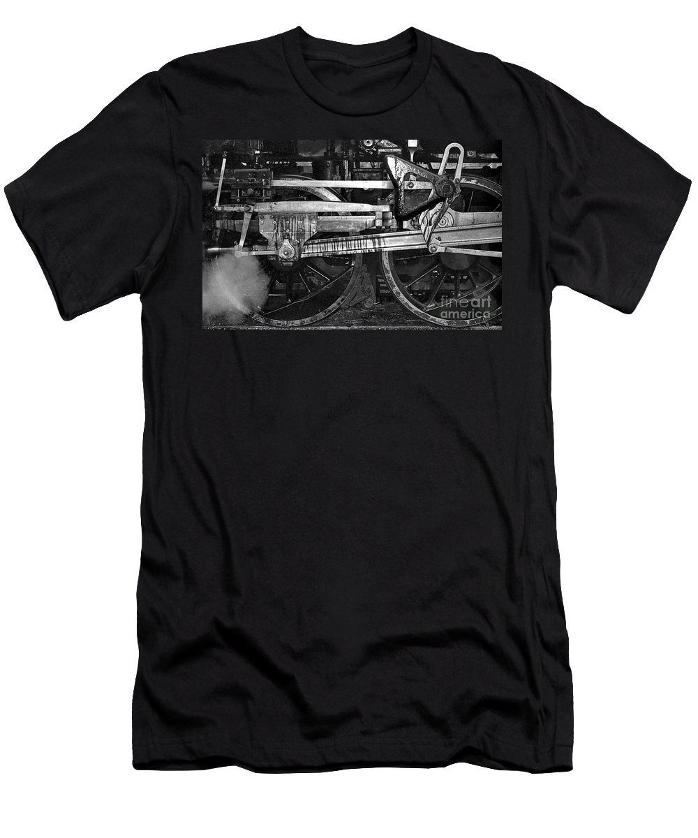 Trains Men's T-Shirt (Athletic Fit) featuring the photograph Driving Wheels by Richard Rizzo