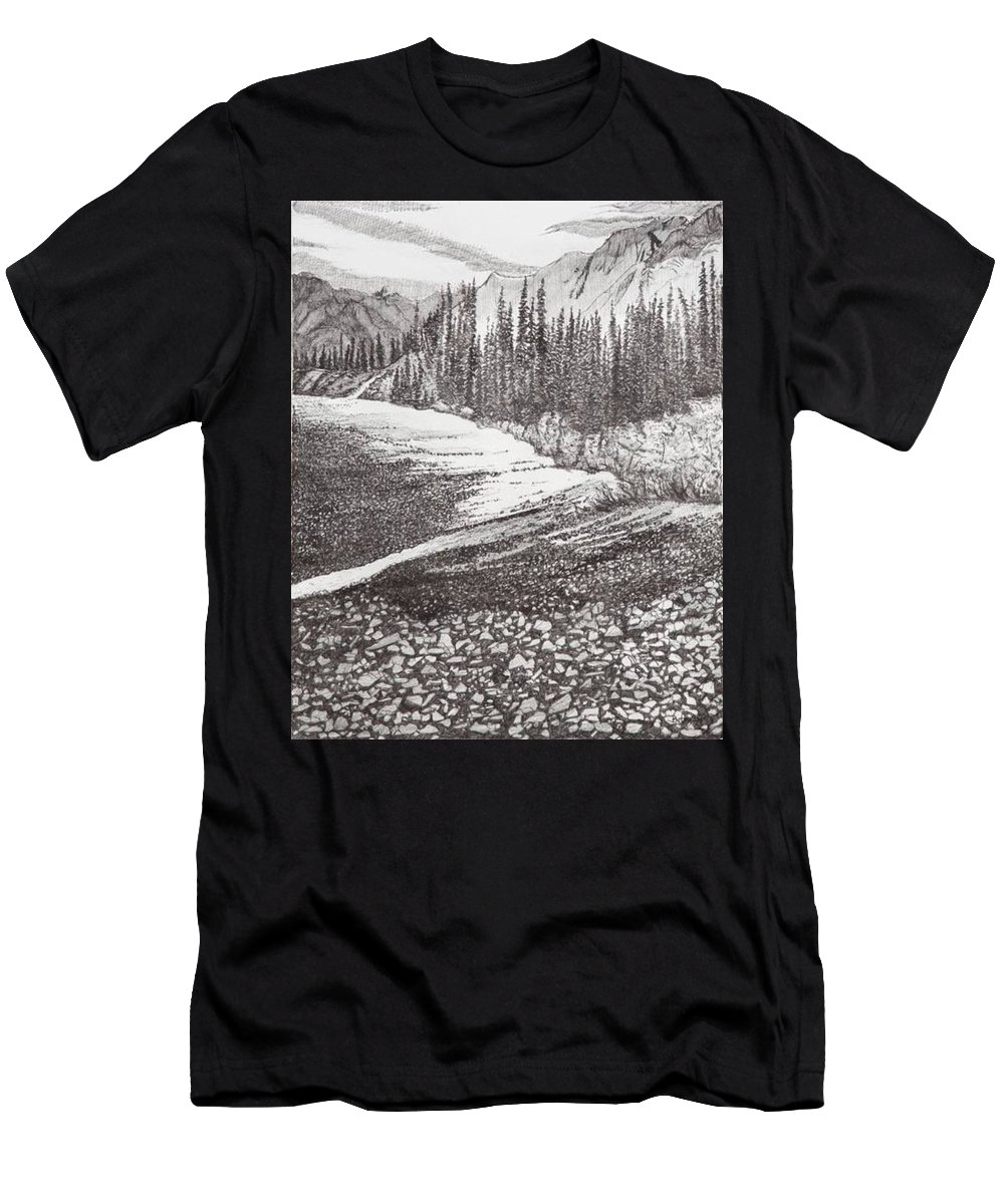 Pen And Ink Men's T-Shirt (Athletic Fit) featuring the drawing Dry Riverbed by Betsy Carlson Cross