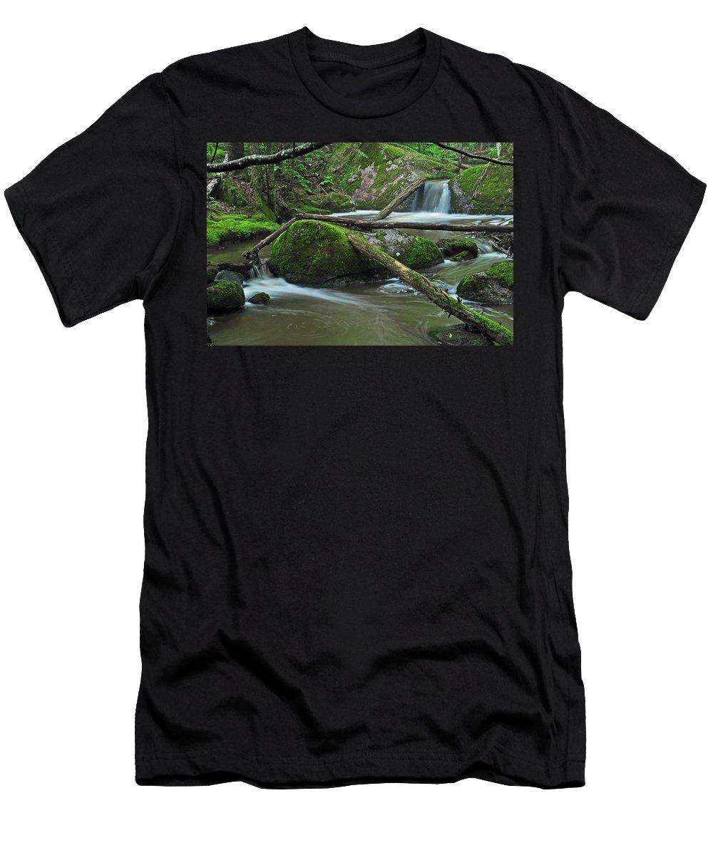 Stream Men's T-Shirt (Athletic Fit) featuring the photograph Dual Falls by Glenn Gordon