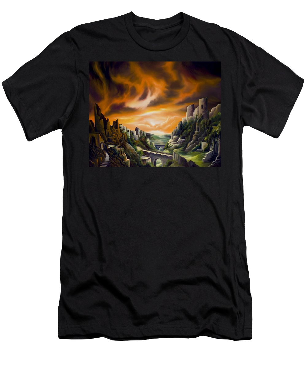 Ruins; Cityscape; Landscape; Nightmare; Horror; Power; Roman; City; World; Lost Empire; Dramatic; Sky; Red; Blue; Green; Scenic; Serene; Color; Vibrant; Contemporary; Greece; Stone; Rocks; Castle; Fantasy; Fire; Yellow; Tree; Bush T-Shirt featuring the painting DualLands by James Christopher Hill