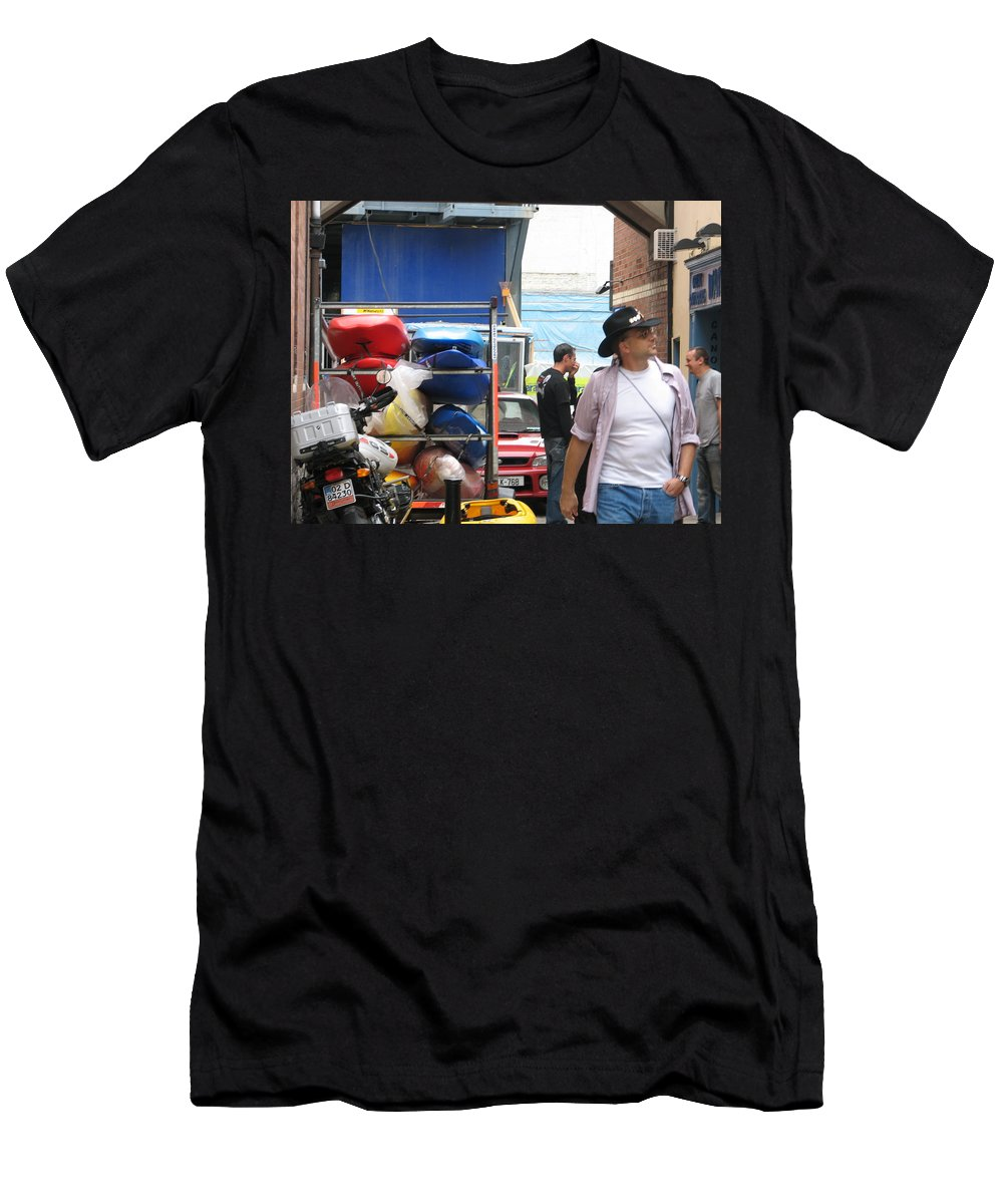 Alley Men's T-Shirt (Athletic Fit) featuring the photograph Dublin Alley by Kelly Mezzapelle
