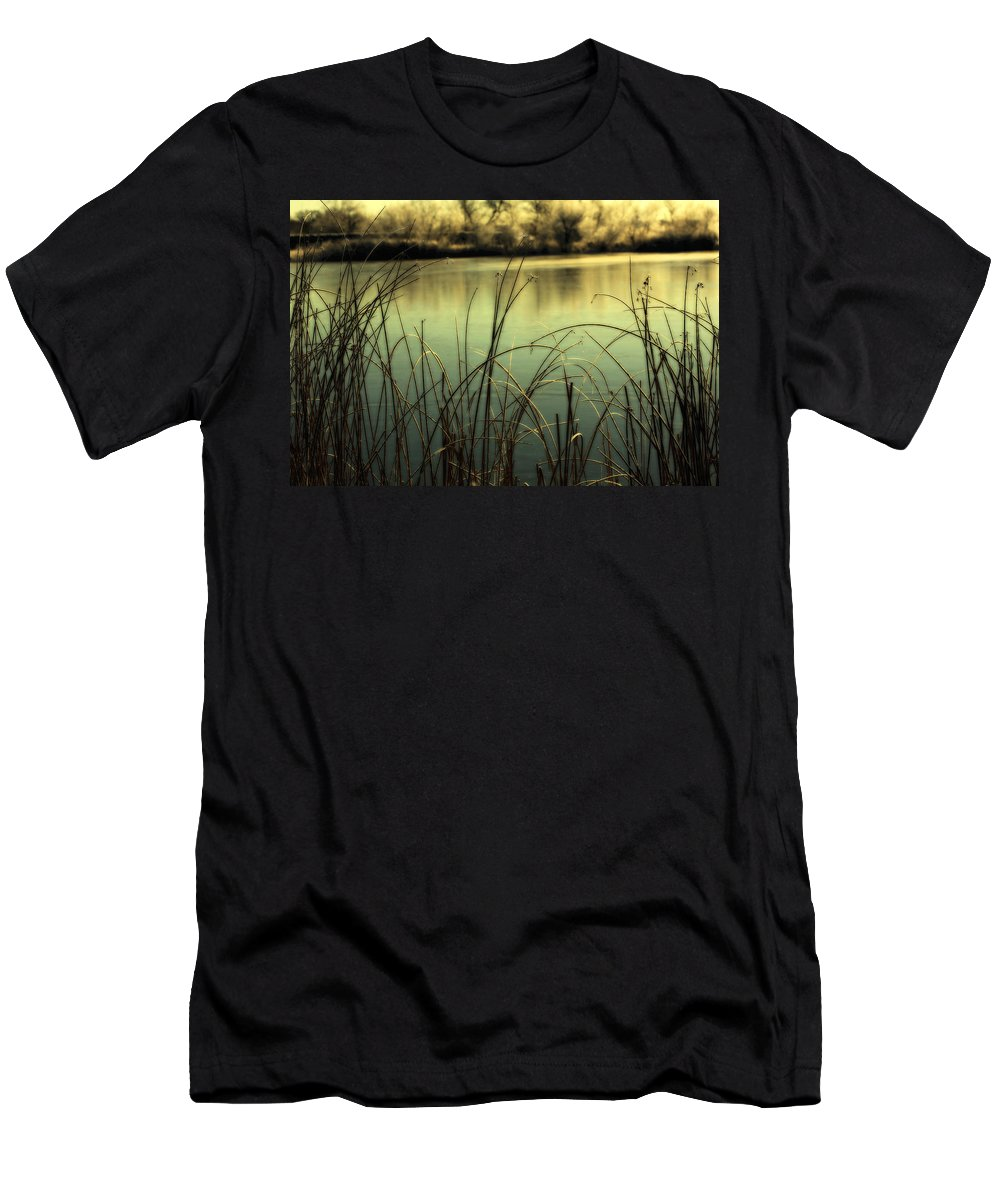Hoar Frost Men's T-Shirt (Athletic Fit) featuring the photograph Early Morning Duck Hunting by Marilyn Hunt