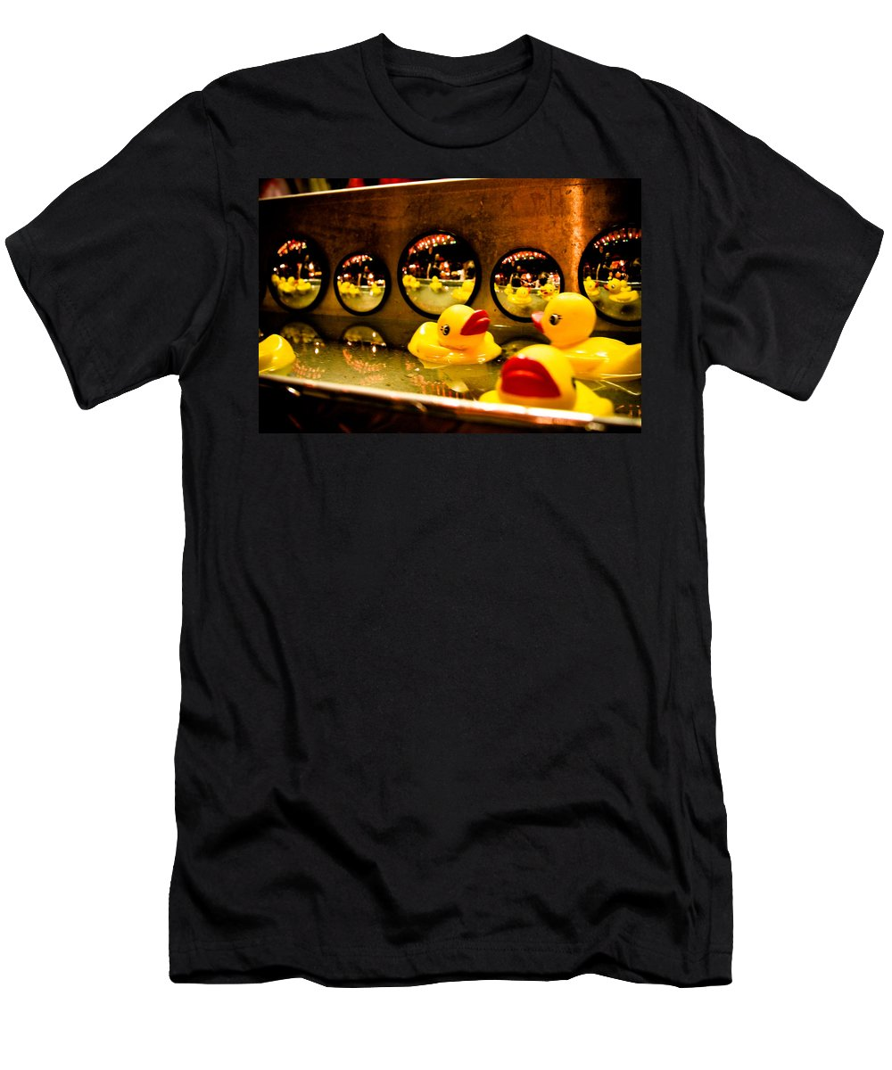 Rubber Ducks Men's T-Shirt (Athletic Fit) featuring the photograph Ducky Reflections by Toni Hopper