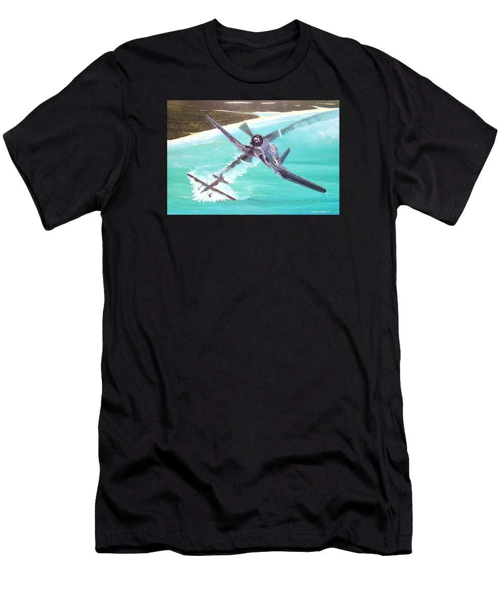 Military Men's T-Shirt (Athletic Fit) featuring the painting Duel Over New Georgia by Marc Stewart
