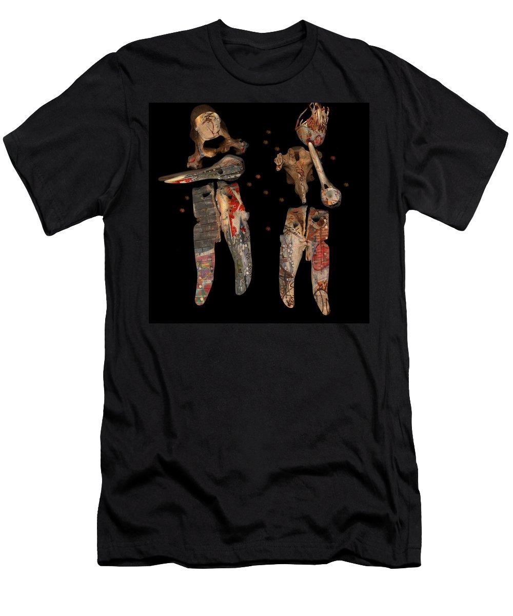 Musicians Men's T-Shirt (Athletic Fit) featuring the digital art Duet by Theresa Paris