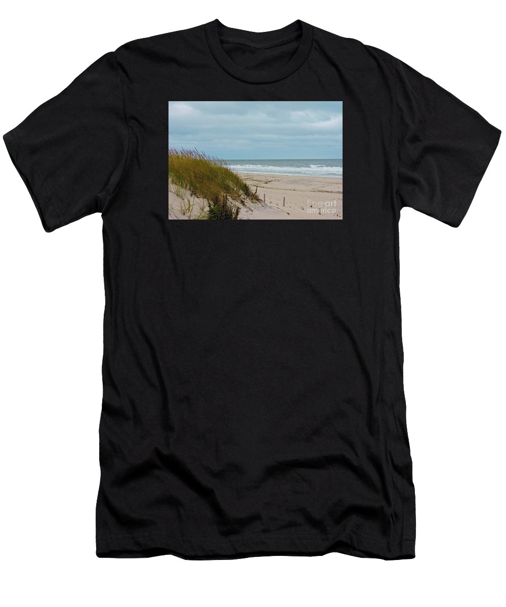 Island Beach State Park Men's T-Shirt (Athletic Fit) featuring the photograph Dune Grass 2 by Helene Guertin